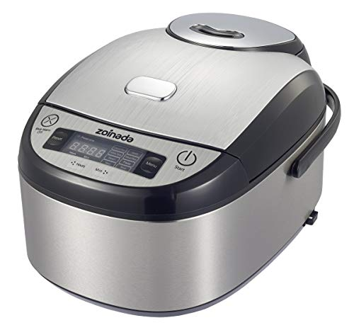 Zoinada Rice Cooker 401BC-1 8 -in-1 Programmable MultiCooker, Slow Cooker, Steamer,Rice, Stew,Pasta,Soup,Stainless Steel Silver and Black For Sale