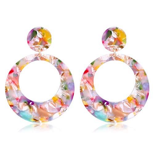 YAHPERN Acrylic Earrings for Women Girls Statement Geometric Earrings Resin Acetate Drop Dangle Earrings Mottled Hoop Earrings Fashion Jewelry (E-Red Floral)