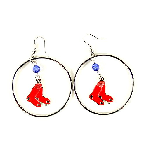 MLB Boston Red Sox Color Bead Hoop Earrings