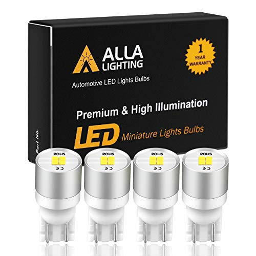 Alla Lighting Newest Best T10 194 LED Bulbs 1616-SMD Super Bright LED 194 168 2825 W5W 175 Bulb High Power Wedge LED 194 Bulb License Plate Interior Map Dome Trunk Lights, 6000K Xenon White (Set of 4)