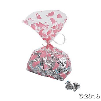 Pink Baby Girl Footprint Cellophane Bags - 12