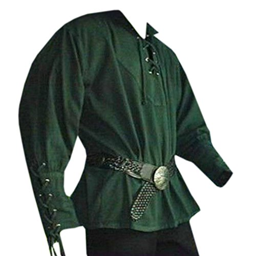 PASLTER Mens Medieval Costume Shirts Halloween Pirate Viking Shirt Scottish Jacobite Renaissance Mercenary Gothic Steampunk Long Sleeve Spread Collar Shirts for Men -