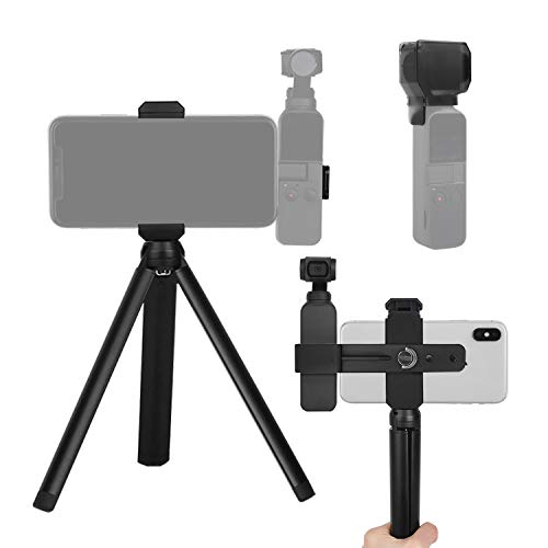 FEPITO 2 Pcs Accessories Set for OSMO Pocket, Handheld Phone Holder Tripod Mount Stand Set and Camera Gimbal Protector Cover Compatible with OSMO Pocket Handheld Camera Gimbal