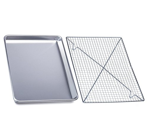 ZaZaTool - Aluminum Baker's Half Sheet with Cooling Rack Set 17.75