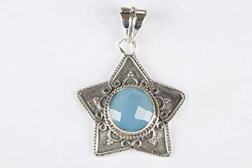 Blue Chalcedony Pendant, 925 Sterling Silver, Faceted Stone Jewelry, Blue Jewelry, Star Shape Pendant, Boho Pendant, Gypsy Pendant, Blue Jewelry, Original Handmade Jewelry, Designer Pendant, Elegant