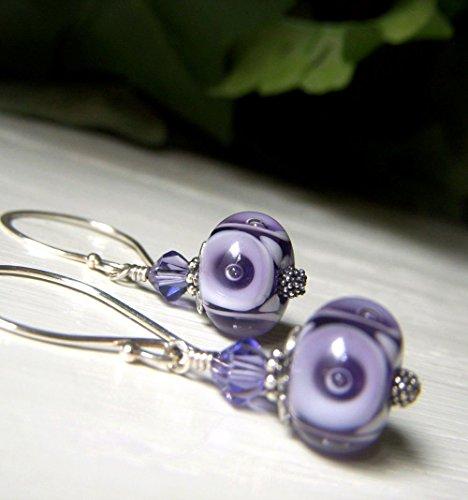 Purple Lampwork Glass Earrings - Violet Sterling Silver Swarovski Dangle - Handmade USA Artisan - Dangle Glass Earrings Lampwork