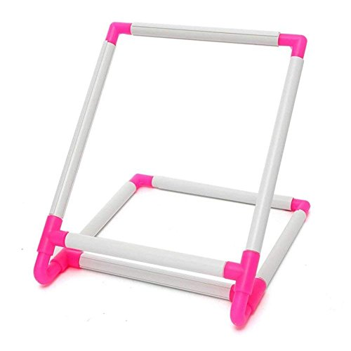 Double Universal Clip Frame Embroidery Sewing Hoop, Embroidery Frame Cross Stitch Hoop, Plastic Embroidery Sewing Stand Tools Rectangle Quilting Cross-Stitch Needlepoint Silk-Painting Craft DIY Tool