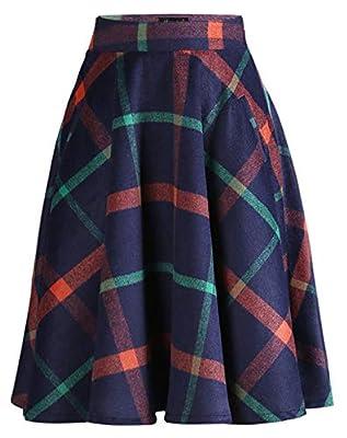 chouyatou Women's Classic Stylish Wool Blend A-Line Pleated Midi Plaid Tartan Skirt