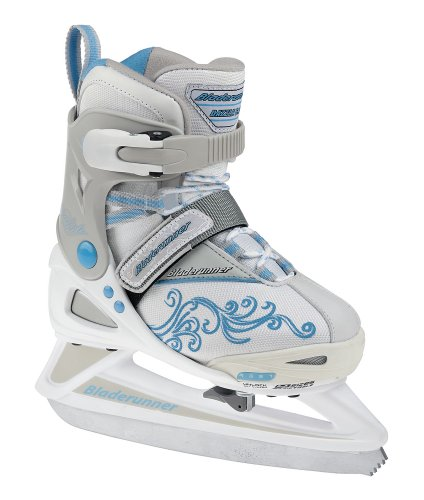 Bladerunner Rollerblade Girls Adjustable Phaser 4 Size Ice Skate (White/Light Blue, US 11j to 1)