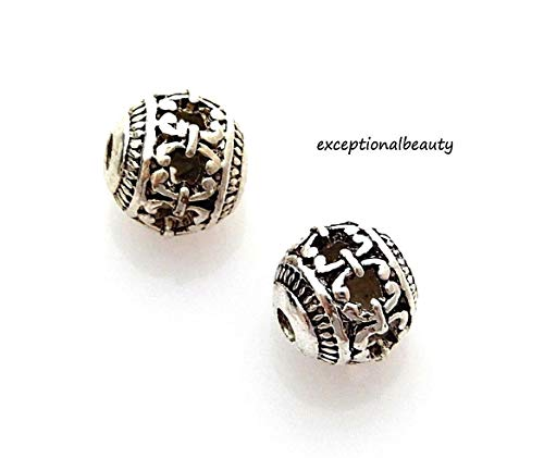Silver 8mm Cutout Bali Filigree Hollow Spacer Round Beads ()