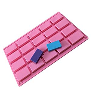 Allforhome 20 Cavities Rectangle Silicone Cake Baking Mold Cake Pan Muffin Cups Handmade Soap Moulds Biscuit Chocolate Ice Cube Tray DIY Mold