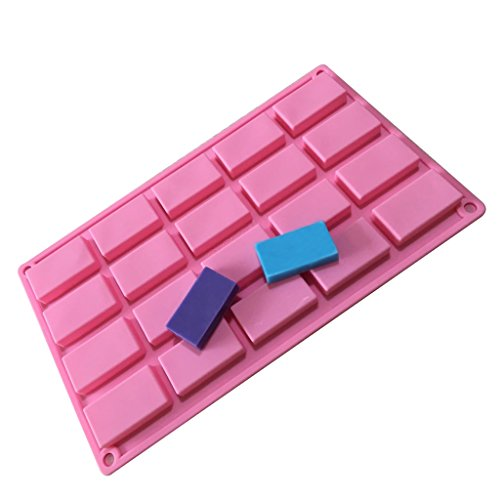 Allforhome (TM) 20 Cavities Rectangle Silicone Soap Mold Handmade Guest Sample Soap Mold Ice Cube Tray Biscuit Candy Chocolate Bar DIY Mold Mould