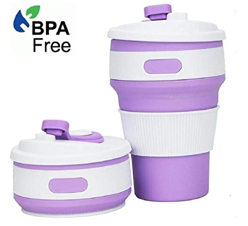 Collapsible Coffee Cup,12oz,C CLTEIN BPA Free Travel Mugs with Lid,A Great Coffee Mug in Office,Plane or Outdoor (Purple, 1)