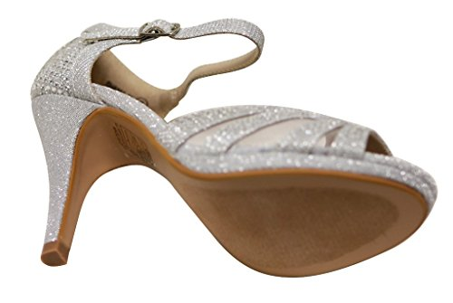 Bella Marie Shania-26 Womens Peep Toe Rhinestone Glitter Strappy Mesh Dance Sandals Silver jWKCGmxvX