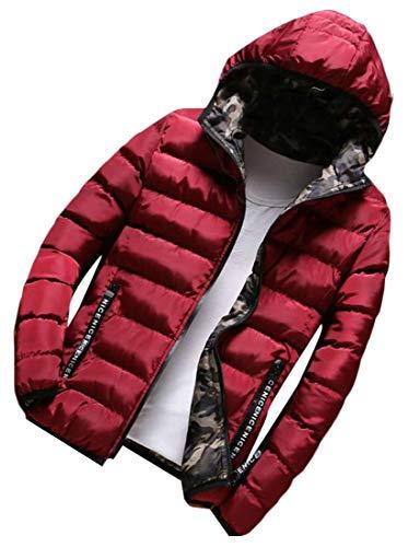 Caldo E Trapuntato Zip Mimetica Con Rosso Piumino amp; Parka Cappuccio Inverno H Cappotto Mens qFpwIx
