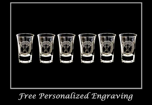 Celtic Stag Shot Glass Set of 6 - Free Personalized Engraving