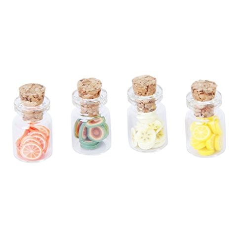 Lid Dollhouse (YOIOY Set of 4Pcs 1:12 Scale Dollhouse Storage Jar with Fruit Slices Wooden Lid)