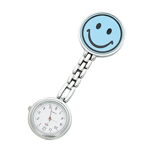Watch Men Smiley Face (ShoppeWatch Nurses Watch Smiley Blue Face Analog FOB Easy Read Dial NW-244)