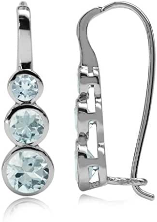 1.46ct. 3-Stone Genuine Blue Aquamarine White Gold Plated 925 Sterling Silver Hook Earrings