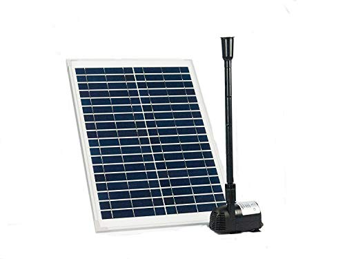 Solar Water Pump KIT: 12V-24V DC Brushless Submersible 410GPH Water Pump with 20W Solar Panel for Solar Fountain, Fish Pond, and Aquarium (No Backup Battery)