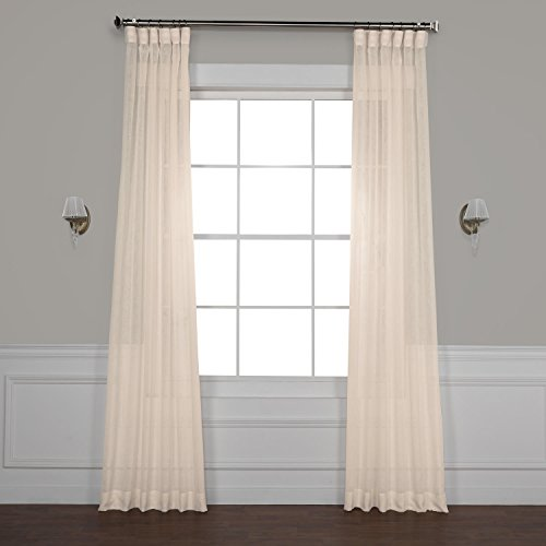 HPD Half Price Drapes SHCH-SS071611-108 Solid Faux Linen Sheer Curtain, 50 X 108, Cotton Seed (50 X Drapes 108)