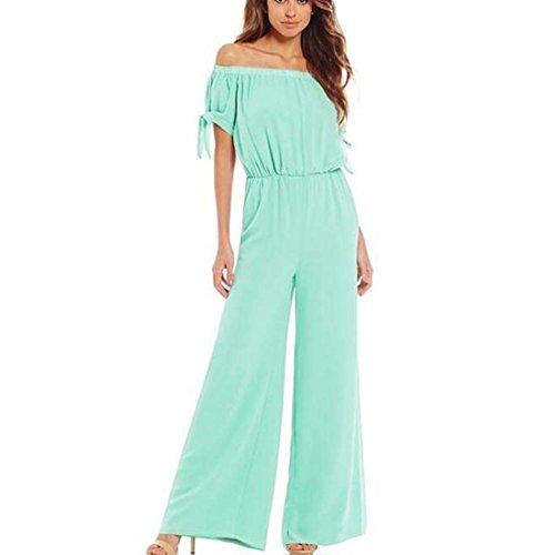Les Femmes sans Bretelles Taille Fil de Neige Pantalons Pantalons Mode Poignets lis Corde Jumpsuit XIAOXAIO (Couleur : Vert, Taille : M)