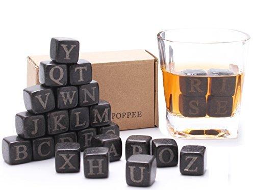 Set of 26 English Letter whiskey stone Basalt ice rock cubes Chilling Stones (26 Letters Whisky Stones Box) (Basalt Rocks)