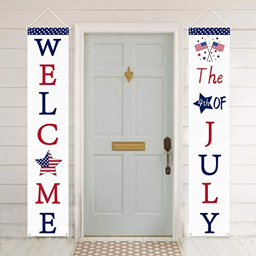 Mosoan 4th of July Decoration Patriotic Porch Sign - July 4th Porch Decorations - 4th of July Decorations Outdoor Indoor - Welcome Banner Fourth of July Party Supply - Independence Day Decorations]()