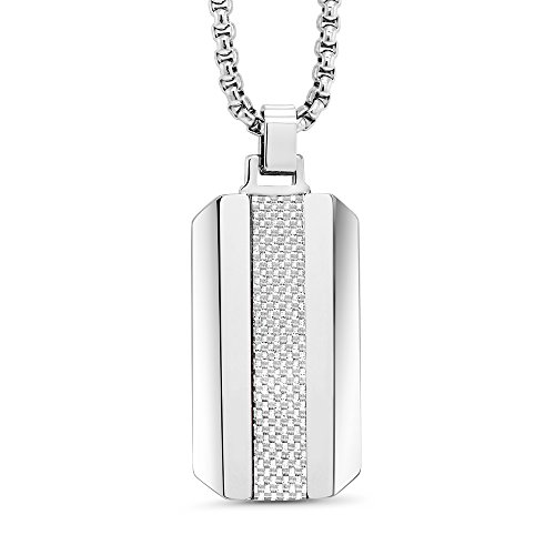 - Dog TAG - Silver Carbon Fiber Tungsten Carbide Dog TAG Pendant ON 3MM Stainless Steel Box Chain Necklace
