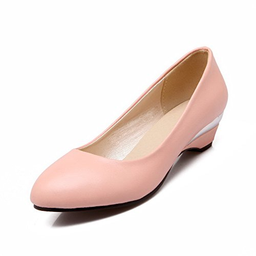 PU On Low 37 Shoes Pull Odomolor Women's Pumps Toe Round Heels Solid Pink t5n1qnx