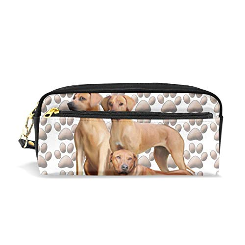 Pencil Case Pouch Rhodesian Ridgebacks Large Capacity Pen Bag Makeup Pouch Durable Students Stationery Two Pockets with Double Zipper