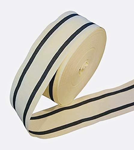 2 inch Wide Cream/Off-White and Charcoal/Black Stripe Grosgrain Ribbon - 25 yards ()