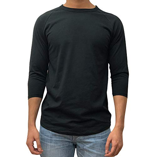 KANGORA Men's Plain Raglan Baseball Tee T-Shirt Unisex 3/4 Sleeve Casual Athletic Performance Jersey Shirt (24+ Colors) (Black Black, X-Large) (Three Quarter Sleeve Tshirt)