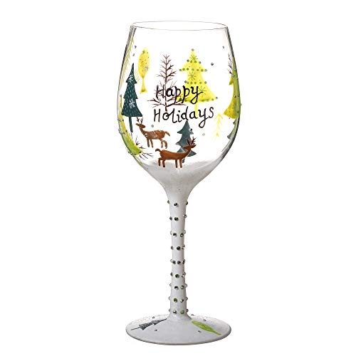 (V-More Hand-Painted Christmas Pattern Wine Glass Decorated with Colorful Rhinestones for Gift Entertaining 20 oz (Set of 1))