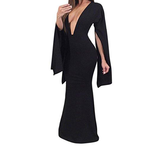 K-youth® Vestidos Fiesta Para Mujer Vintage Elegantes Manga Largos Mujer Noche Fiesta Ropa De Mujer En Oferta Vestido Largo Negro