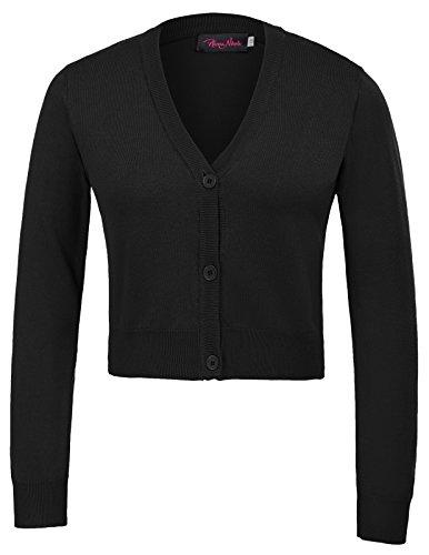 Hanna Nikole Womens Button Down Long Sleeve Cropped Bolero Cardigan Sweater Black Size 1X