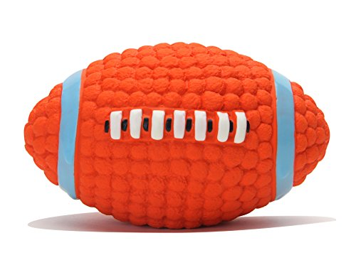 EETOYS Pet Squeaky Toys Soft Bouncing Latex Floating Dog Toy Throw Ball (Rugby, S)