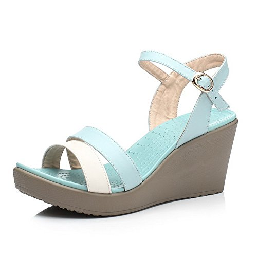 AmoonyFashion Womens Soft Leather Open-Toe High-Heels Buckle Assorted Color Sandals Blue Dn9vfKTky