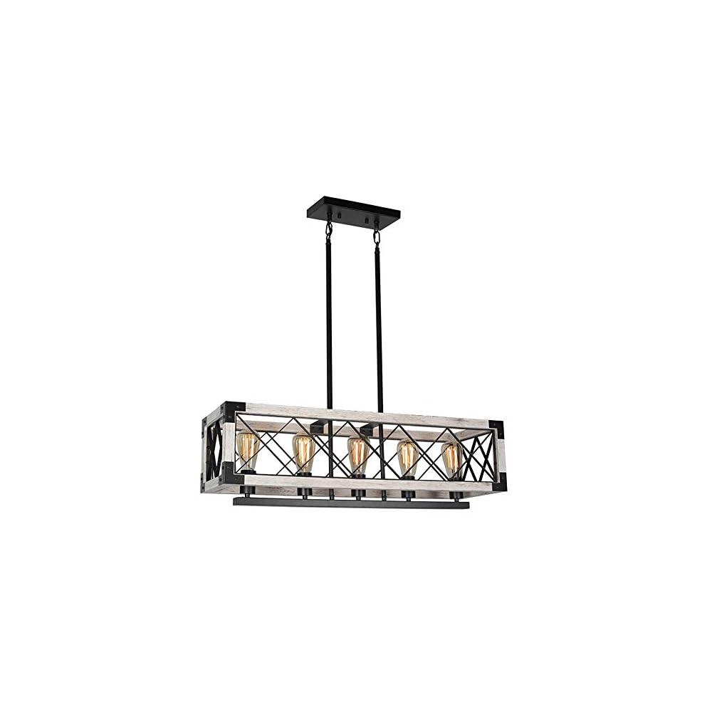 Baiwaiz Farmhouse Rectangle Kitchen Island Chandelier Lighting, Metal and Wood Rustic Dining Room Pendant Light Fixture…