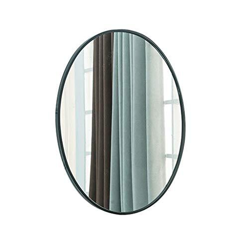Makeup Mirror Bathroom Oval Vanity Mirror Washbasin Wall Mounted Simple Modern Dressing Mirror Wall-Mounted Vanity Mirrors (Color : Black, Size : 6040cm)