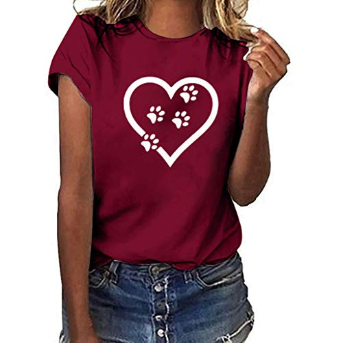 Sunhusing Women's Solid Color Round Neck Love Heart Dog Paw Print Short-Sleeve T-Shirt Casual Top Tee - Paw Nylon Pattern