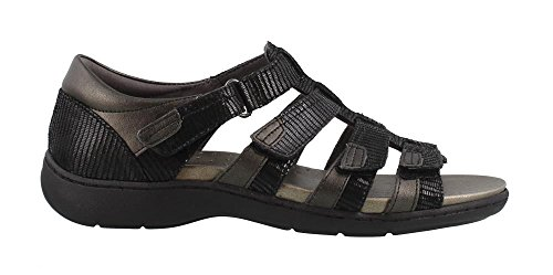 Aravon Women's Bromly Gladiator Sandal, Black, 7.5 2E US