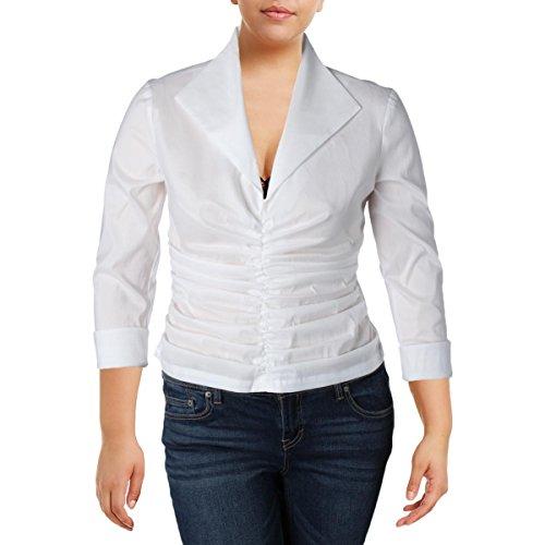 Tadashi Shoji Womens Sheer Ruched Dress Top White 14 by Tadashi Shoji