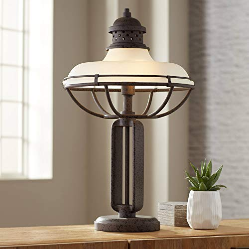 Franklin Iron Works Glass and Metal Industrial Table Lamp