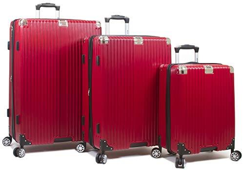 Dejuno Moda Scratch Resistant 3-Piece Hardside Spinner Luggage Set-Red ()