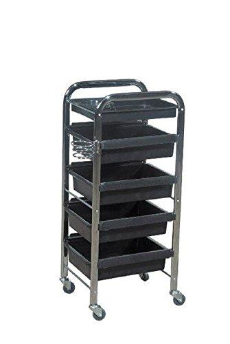 Black Salon Hair Coloring Trolley / Beauty Equipment Cart