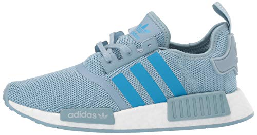 adidas Originals Unisex NMD_R1 Running Shoe ash Grey/Shock Cyan/White 4 M US Big Kid by adidas Originals (Image #5)