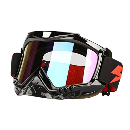 G4Free Outdoor Motorcycle Street Dirt Bike ATV UTV Cruiser Snowmobile Snow Goggles UV Protective Snowboard Glasses Black with Nose - Goggle Cover Protective