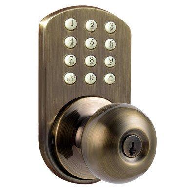 MiLocks TKK-02AQ Digital Door Knob Lock with Electronic Keypad for Interior Doors, Antique Brass - Lock Digital Electronic