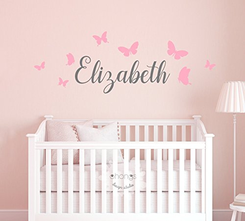 Kids Name Wall Decal/Kids room/Nursery decal/Custom name sticker/Personalized Wall Decal/Baby Name Decal/butterfly name from Ohongs Design Studio